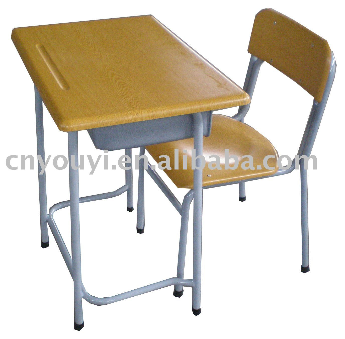 Cheap Classroom Single Desk and Chair School writing table with book drawer for student furniture