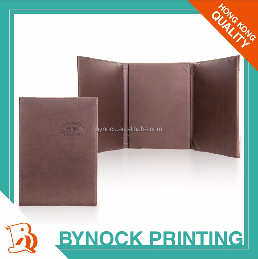 Hong Kong Quality Emboss or Engrave Effect Hard Cover Case Leather Menu Cover