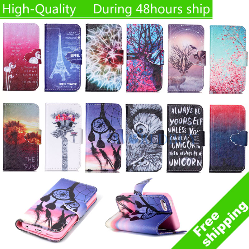 For Iphone 4 For iphone 4s Luxury Painting Leather Case Stand Flip Wallet Mobile Phone Cover Free Shipping