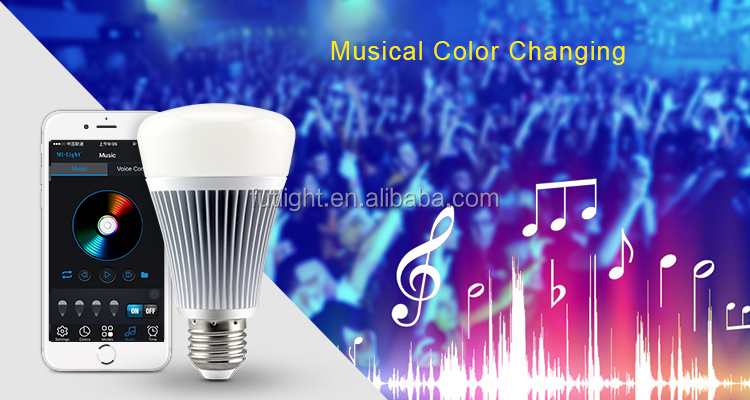 low energy cost 8w e27 bluetooth rgbw saturation adjustable led light bulb