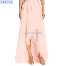 wholesale latest long skirt design hot pictures of sexy girls wearing bridesmaids high low tulle overskirt long african skirts