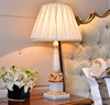 Luxury jade made body with brass decoration fabric lampshade white color table lamp