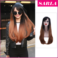 "Wholesale 28"" two tone color syntetic hair wig right side ombre wigs"