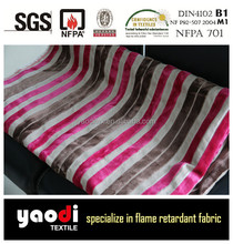 Luxury 100 polyester FR striped upholstery velvet fabric for sofa