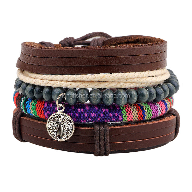 Bohemia style beach jewelry wood beads cotton cord charm alloy coin pendant wide wrap leather bracelets wholesale