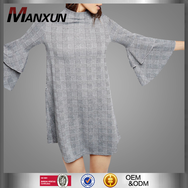 Customized Ladies Grey Long Sleeve Short Dress Simple Check Printed Dress Vintage Ruffle Dress
