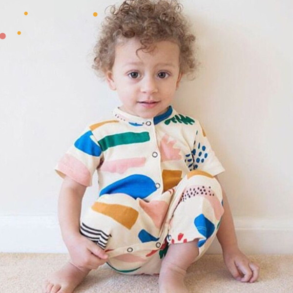 MS60584K rainbow color fashion short sleeve baby romper apparel