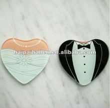"heart-shaped ""bride and groom"" glass coaster for wedding favors"