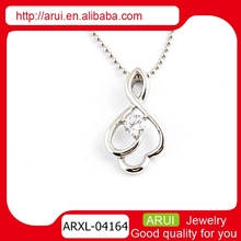Ladyies pretty drop style pendant necklece with diamond silver party pendant