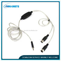 Usb cable with power switch ,H0T346 cable cord keyboard interface converter , guitar to midi interface