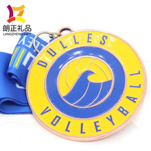 cheap wholesale cooper custom volleyball award medal with ribbon