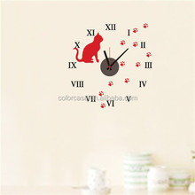 Colorcasa ZY826 3d wall sticker reloj diy reloj decoración de la pared animal reloj