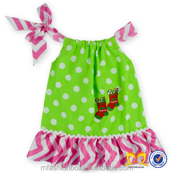 Latest Hand Smocked Embroidered Dress Girls Fashion Green Polka Dots Dress Headbands Little Girls Boutique Dress Cheap Wholesale