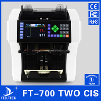 Bank professional two pocket bill banknote sorter money counter and cash sorter machine