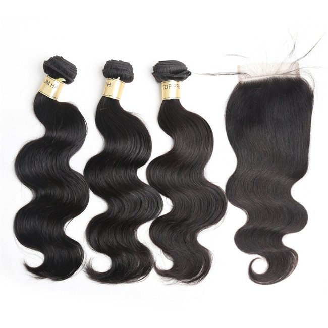 Grade 8A virgin peruvian hair bundles wholesale 100% peruvian remy hair body wave Hair 3 Bundles With Closure