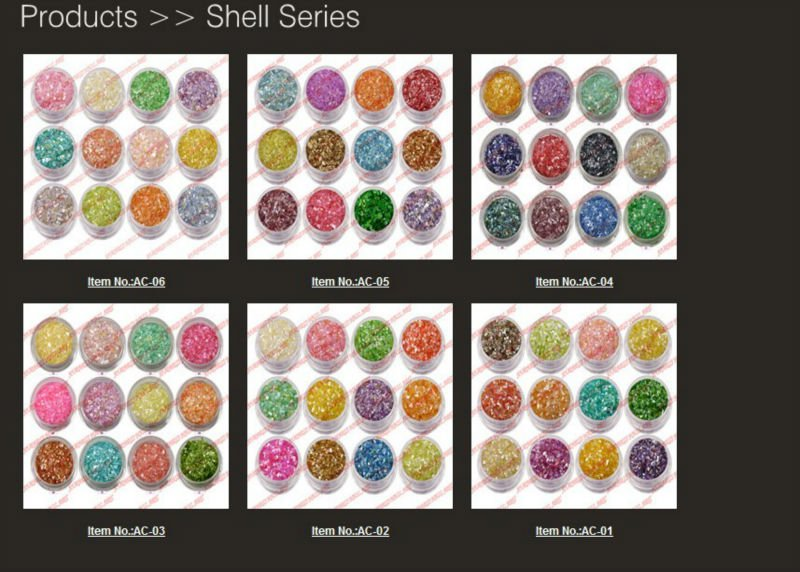 2014 New Arrival Professional Colorful Nail Art Glitter Nail Care Decoration Powder 12 Colors Crushed Shell Material AG001