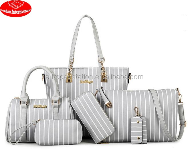 6 pcs in 1 stripes design high pu handbags sets guangzhou handbags sets