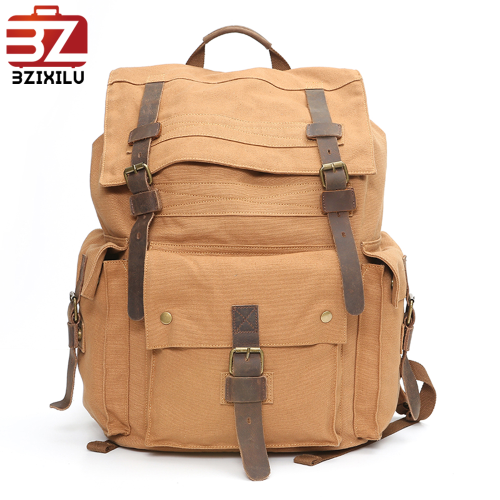 Wholesale vintage Latest fasion backpack canvas mens school bag