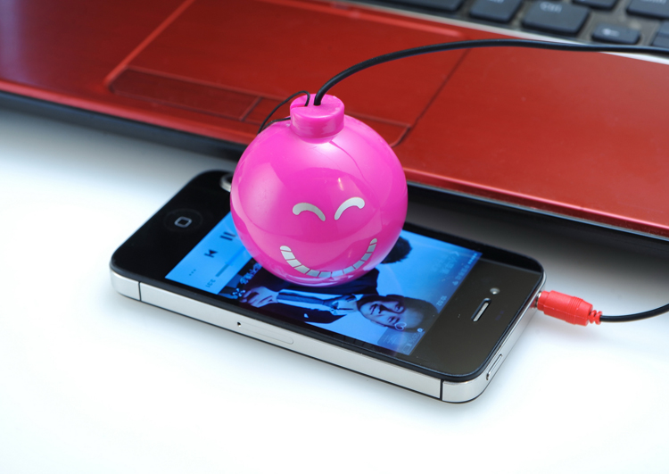 Portable Mini Round Bomb Shape Music Speaker For Gift