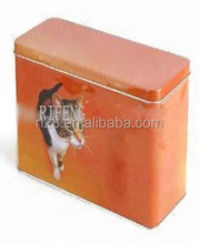 Pet cat food rectangular metal box