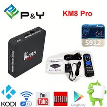 2016 smart TV BOX Player S912 Android 6.0 KM8 PRO 2G 16G Set Top Box with kodi 17.0 1000M Dual wifi