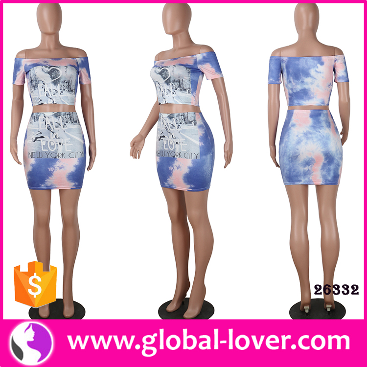 Two pieces off shoulder tight bodycon printed dress sexy mature clothes