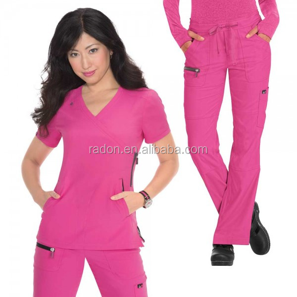 Unisex V-Neck Top & Drawstring Pant pink nursing scrubs sets