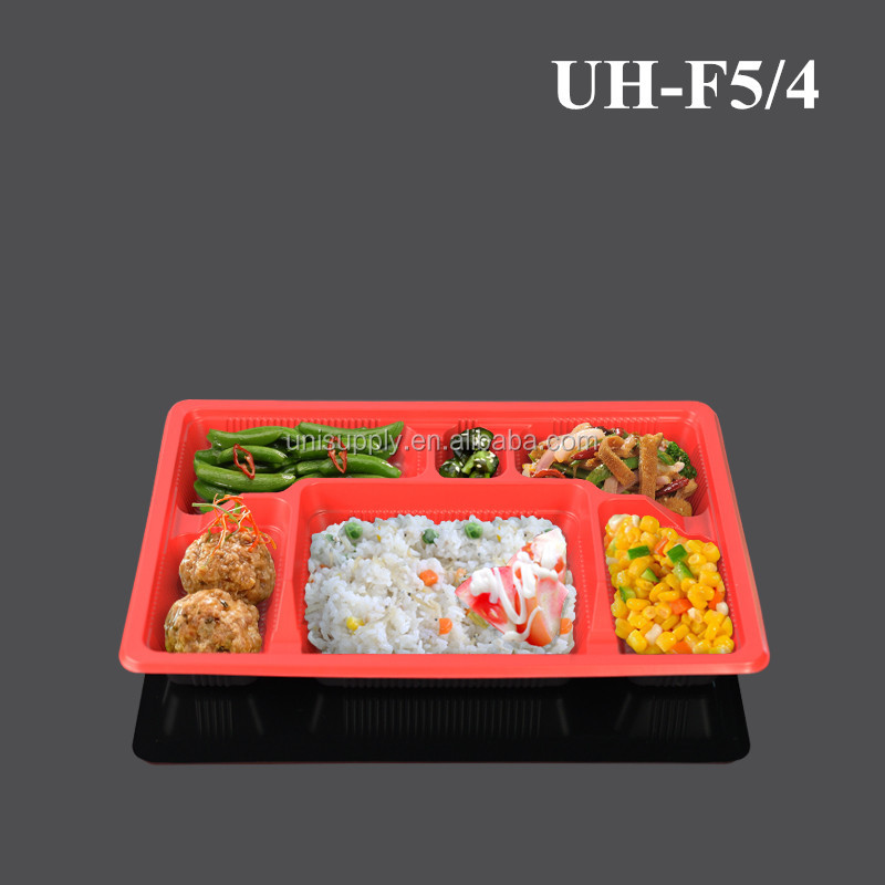 Food Grade Disposable PP Plastic Six Compartments Divided Food Packaging Container Tray with Clear Lid Cover