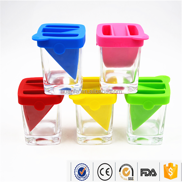 High Quality Rocks Glass cup Heavy Bottom 9oz Whiskey Tumbler Wedge Glass Cup With Various Color Silicone Ice Form.