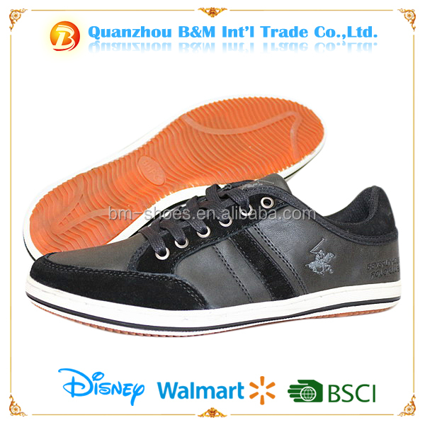 2016 popular casual shoes for men low cut PU lace up walking footwear