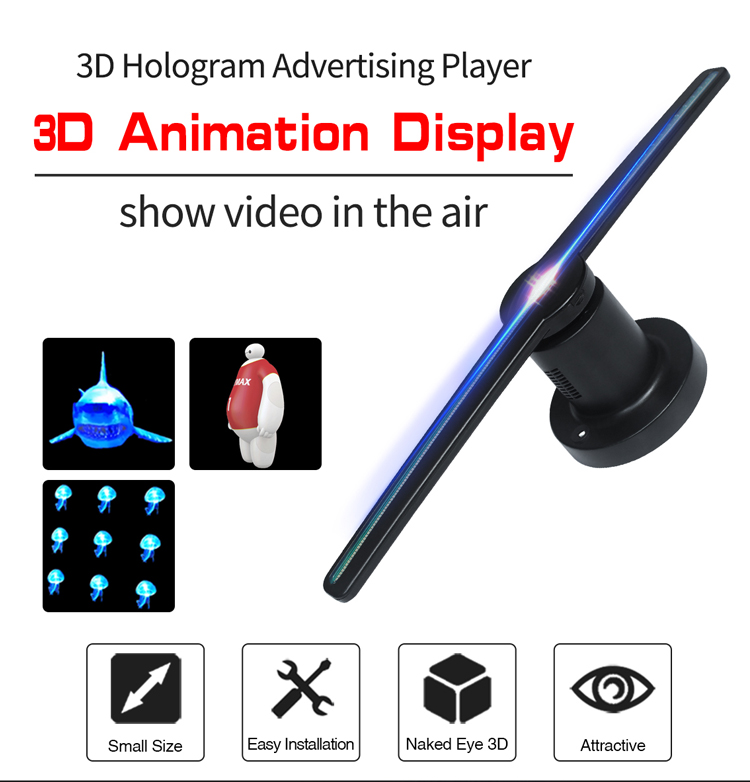 3D led fan 3D indoor equipment 3D holographic hologram display