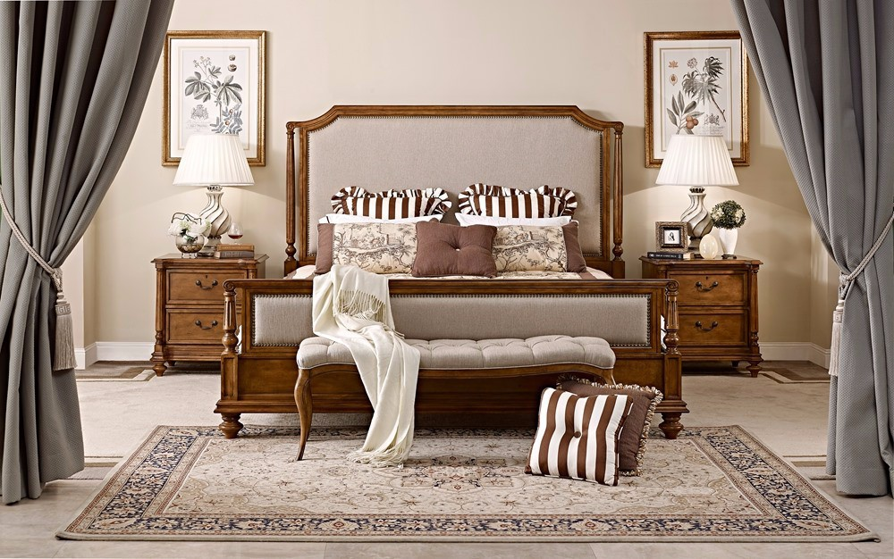 Antique luxury French type wooden bed home furniture hand carved wooden bedroom set