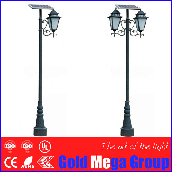 Cast aluminum pole traditional style outdoor solar tulip garden lighting
