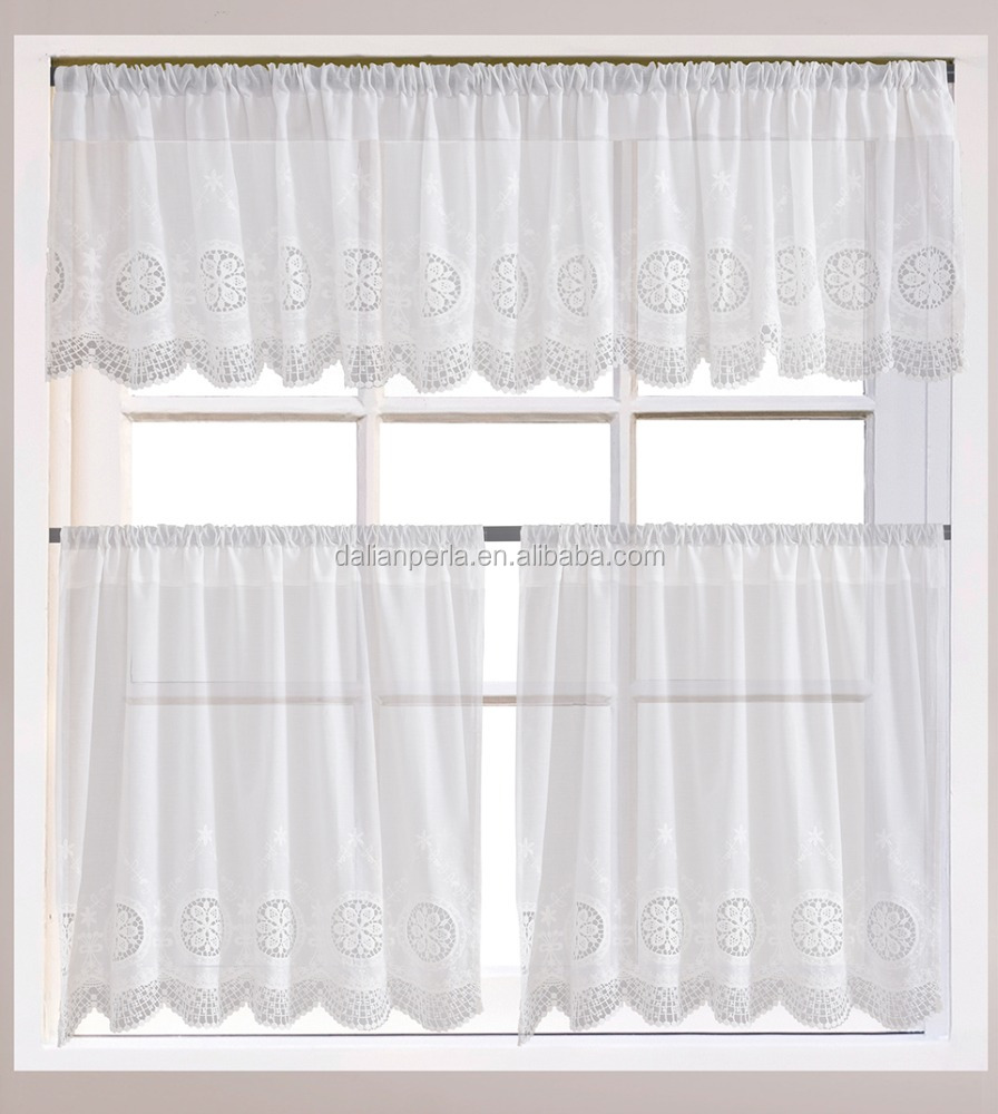 Cotton Daily Cottage Style Water Soluble Lace Cafe Curtain Kitchen Curtain
