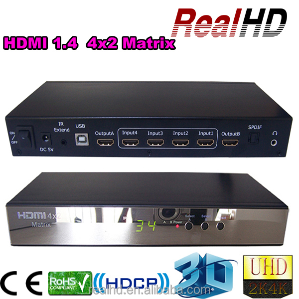 RealHD , HDMI Mixer 4K 1.4a Audio &Video Equipment 4 in 2 port out 3D HDMI Matrix 4x2