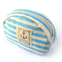 Travel Portable Navy Cross Stripes Cosmetic Bag Make up Toiletry Holder Pencil Pouch Beauty Wash Bags Storage Purse