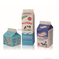 High quality 250ml printed pure gable top Milk juice paper pack cartons