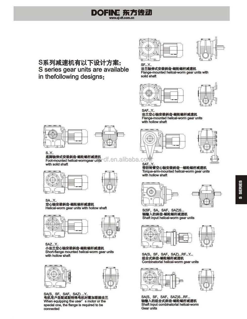 Helical-worm gearmotor S series Gearbox reducer W series reductor