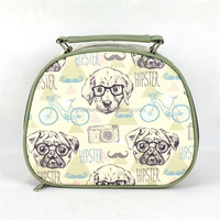 Green Trimming Cute Cosmetic Bag Type Handbag With Dog Picture