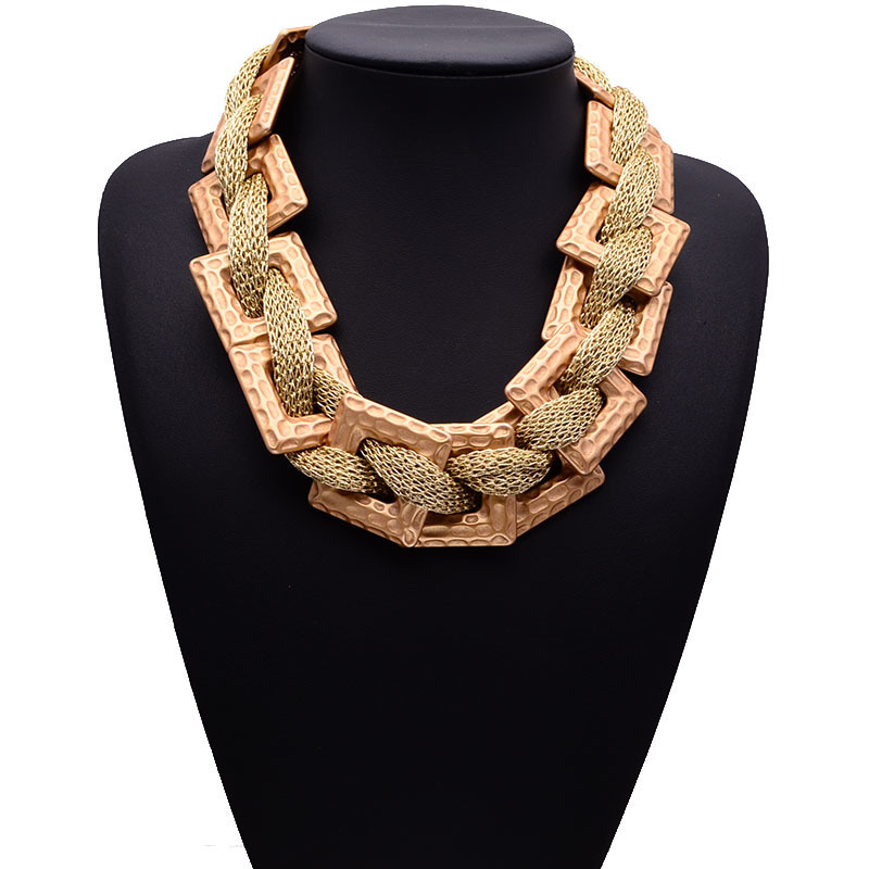latest products in market gold color fabric chunky necklace hip hop jewelry