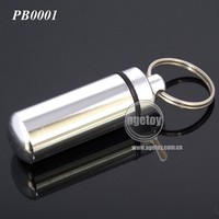 Metal Silver Color Aluminum Pill Box With Key Ring