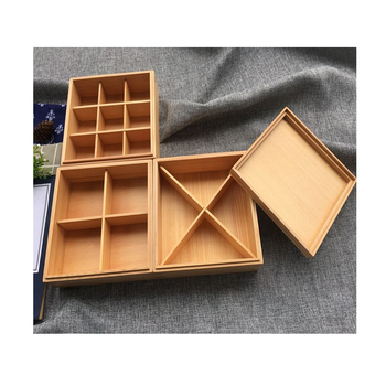Handmade wooden lunch box for home or outdoor wooden multilayer food box