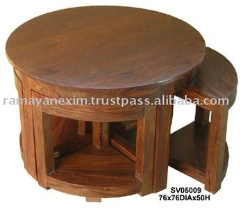 Wooden Coffee Table Set Living Room Furniture Center Table Sheesham Wood Furniture Mango Wood