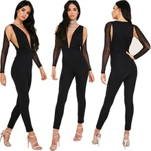 B40986A Sexy black romper jumpsuits women bodycon deep V jumpsuits