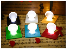 Led bulb shaped card to light a night light Strange ideas goods electronics holiday gift Multicolor Pocket Light