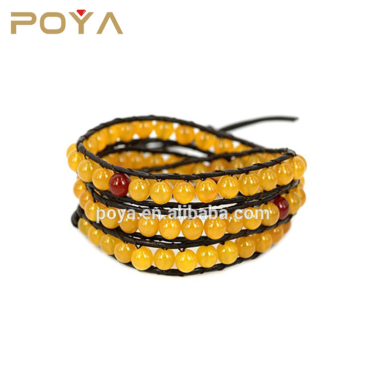 POYA Jewelry Cheap 3 Wraps Yellow Agate Bead Leather Bracelet