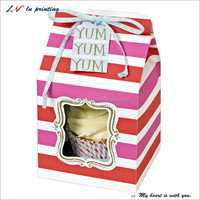 customized individual cardboard paper cupcake box with ribbon