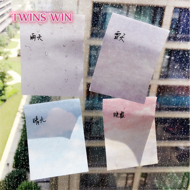 Amazon eBay top sale new stationery products Sunset rainy snow sunny day kawaii sticky notes wholesale fancy sticky notes