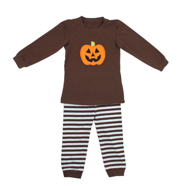 Wholesale 95% Cotton Halloween striped Pajamas for Children Girls and Boys