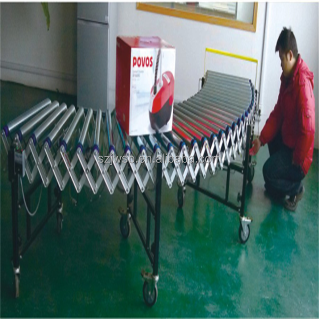 extendable heavy duty flexible roller conveyor with movable wheels